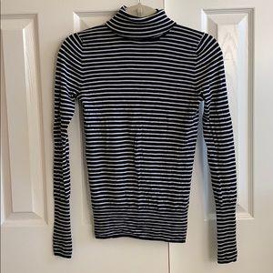 J Crew navy & cream striped turtleneck sweater